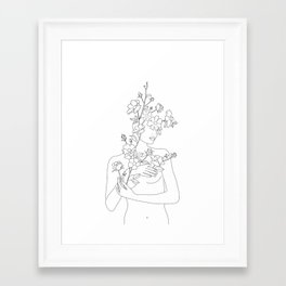 Minimal Line Art Woman with Wild Roses Framed Art Print