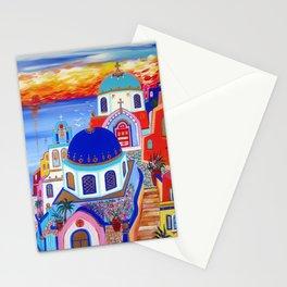 Santorini fiery sunset Stationery Cards