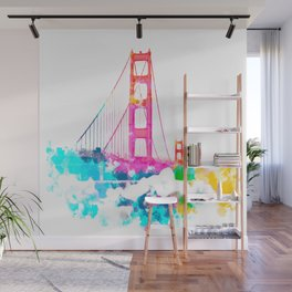 Golden Gate bridge, San Francisco, USA with colorful painting abstract in pink blue yellow Wall Mural