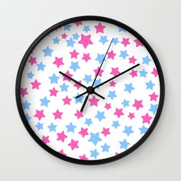 Pink and Blue Stars Wall Clock
