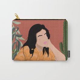 Girl sitting in chair with plants illustration Carry-All Pouch