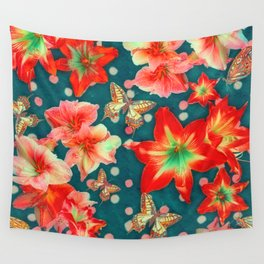 Amaryllis and Butterflies 2 Wall Tapestry