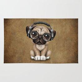 Cute Pug Puppy Dj Wearing Headphones and Glasses Rug