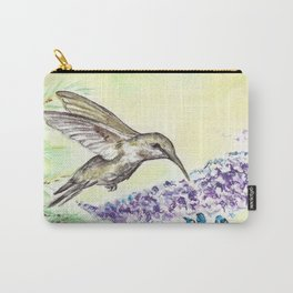 Hummingbird and Salvia Flowers Carry-All Pouch