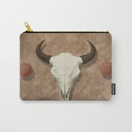 Bison Skull with Rose Rocks Carry-All Pouch