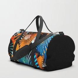 Tropical night abstract digital geometric art Duffle Bag