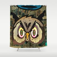 howl Shower Curtains featuring Owl Howl by Beery Method