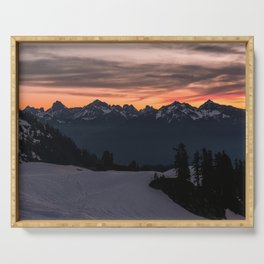 Rising Sun in the Cascades - nature photography Serving Tray