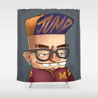college Shower Curtains featuring College boy  by Emrah Tumer