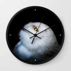 Winter White Snowy Owl Wall Clock