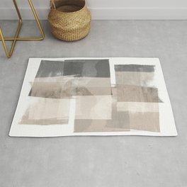 "Grey and Beige Minimalist Geometric Abstract ""Building Blocks"" Rug"