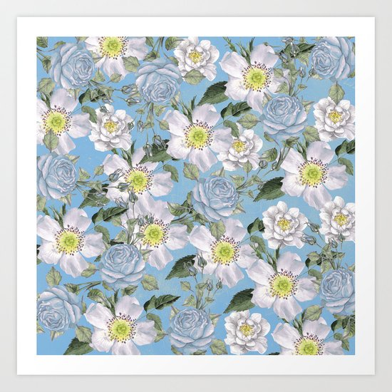 Vintage Rose Pattern Blue Art Print