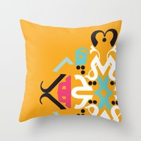 arabic Throw Pillows featuring Orange Arabic by Farah Saheb