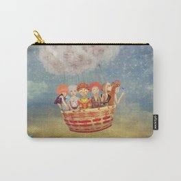 Happy children in the   air balloon in the sky - illustration art Carry-All Pouch