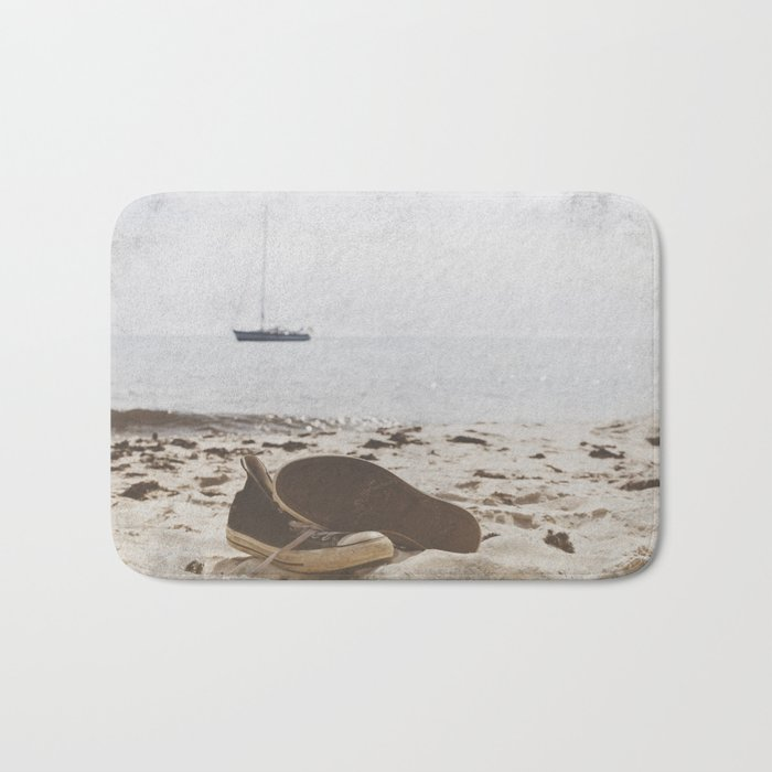 Dream of summer Lonely shoes at the Beach- Summer day- #Society6 Bath Mat