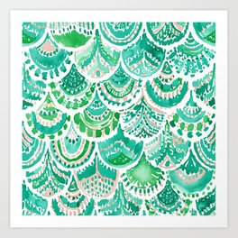 VENUS DE MER Green + Blush Mermaid Scales Art Print