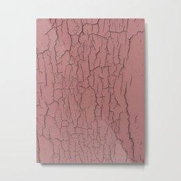 Pink cracked wall paint abstract art wall decor Metal Print