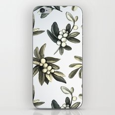 Pattern with mistletoe branches.  Watercolor iPhone & iPod Skin