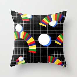 Memphis Grid & Rainbows Throw Pillow