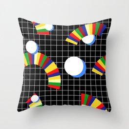 Memphis Grid & Rainbows Throw Pillow