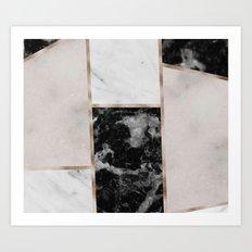 Taupe stones - black marble features Art Print