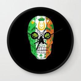 Sugar Skull irish flag st patricks day Wall Clock