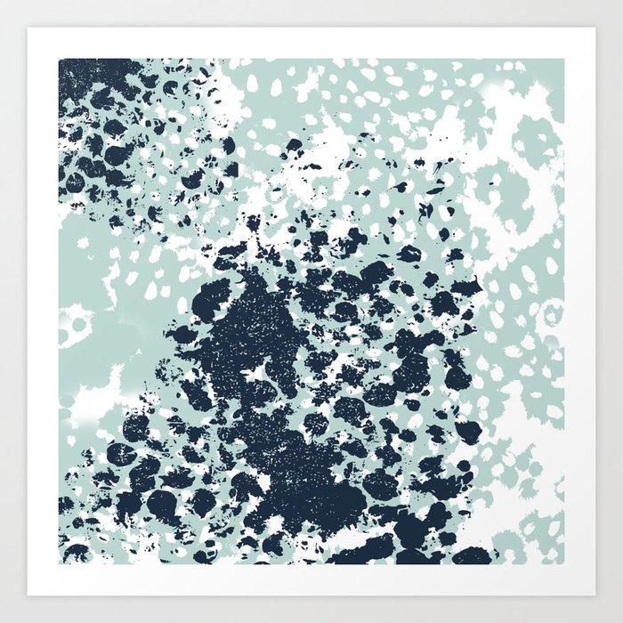 Izzie - abstract painting navy mint white trendy color palette summer bright decor Kunstdrucke