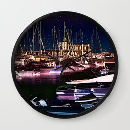 Harbour at night Wall Clock