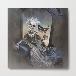 Catrina in Waiting Skeleton Large Format Metal Print