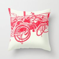 bicycles Throw Pillows featuring On Paper: Tokyo Bicycles by Anton Marrast