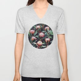 Evening Proteas - Pink on Charcoal Unisex V-Neck