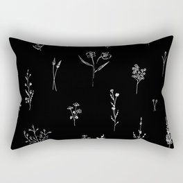 Black wildflowes Big Rectangular Pillow