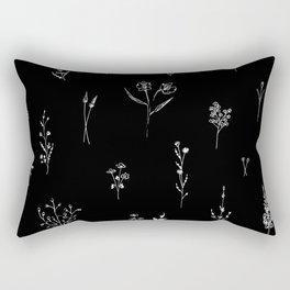 Black wildflowes Big Rectangular Pillow