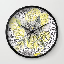 yellow and gray feathers Wall Clock