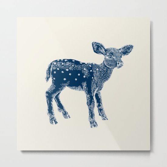 Dear Deer, Indigo on Vanilla Metal Print