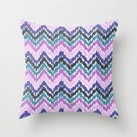 ikat Throw Pillows featuring Ikat Chevron by Noonday Design