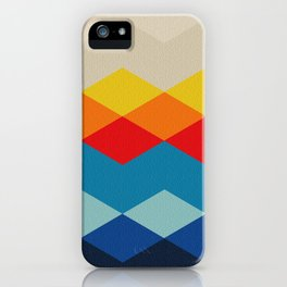 Abstract argyle pattern, mountain landscape - white, beige, yellow, orange, red, blue, sky blue, deep blue, marine blue, black iPhone Case