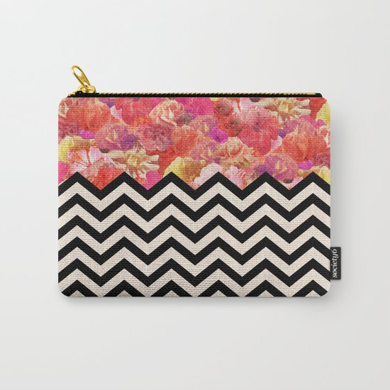 Chevron Flora Carry-All Pouch