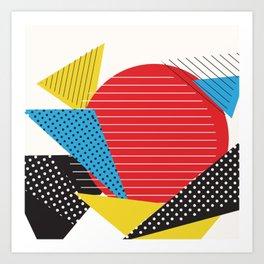 Memphis Sun Abstract Throwback Retro 1980s 80s Trendy Hipster Pattern Eighties Art Print