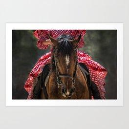 Woman Horseback Rider in Spanish Dress Art Print