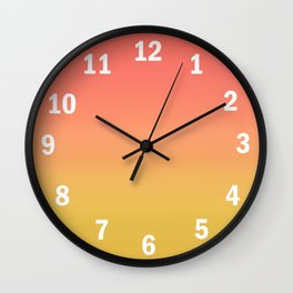 Coral through Gold Ombre Wall Clock