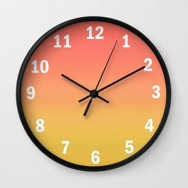 Coral through Gold Ombre Wall Clock