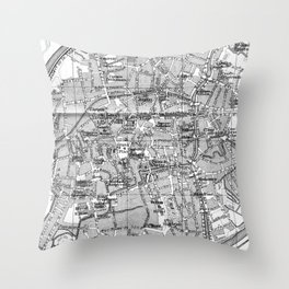 Vintage Map of Bruges (1905) BW Throw Pillow