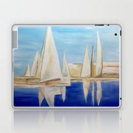 Sailing white ocean sea reflect peace blue Laptop & iPad Skin