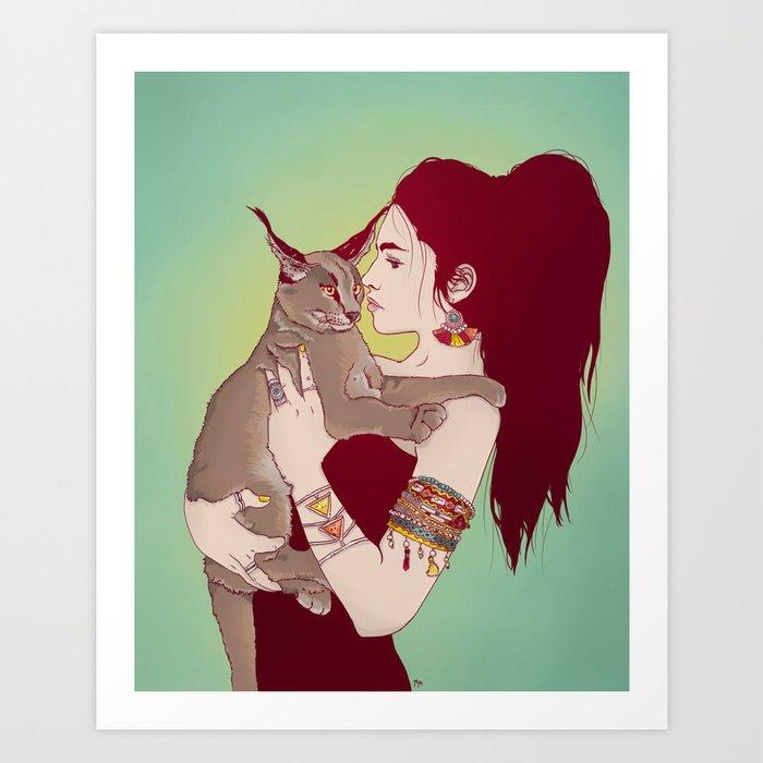 Wildcat Lady Art Print