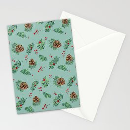 Winter Pinecones and Holly Berries / Watercolor Pattern Stationery Cards