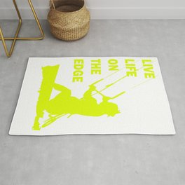 Live Life On The Edge Neon Yellow Kitebeach Rug