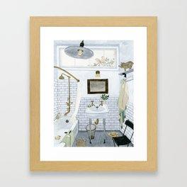In The Bathroom Framed Art Print