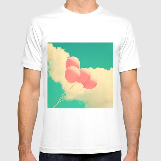 Happy Pink Balloons on retro blue sky  T-shirt