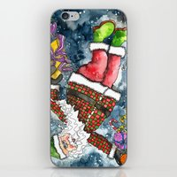santa iPhone & iPod Skins featuring Santa by Shelley Ylst Art